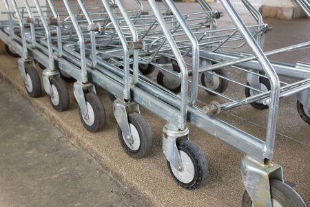 Supermarket shopping carts photo