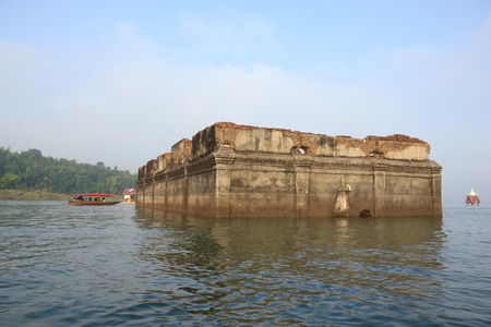 drown: Temple drown in water Kanchanaburi, Thailand