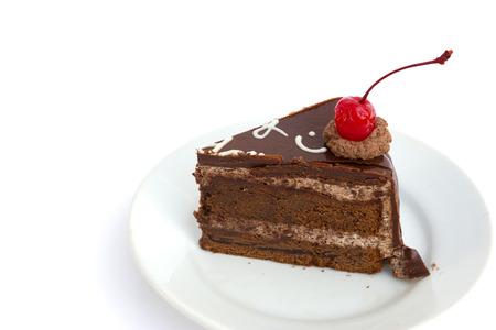 Chocholate cake isolated on white background photo