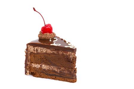 Chocholate cake isolated on white background