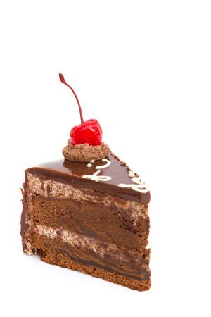 custard slice: Chocholate cake isolated on white background