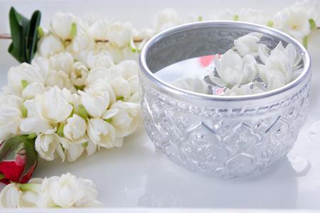 Water in bowl Songkran festival in Thailand Stock Photo