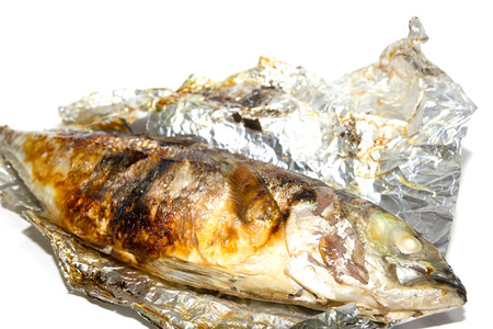Fried fish in the foil photo