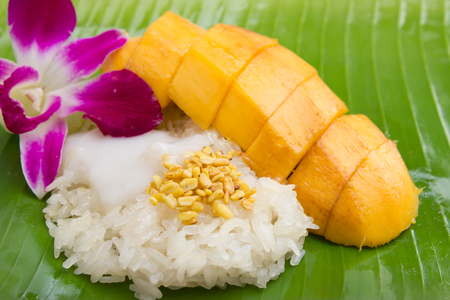 Sweet mango with sticky rice mix with coconut milk