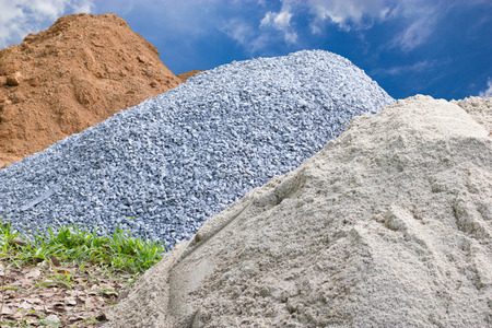 Stone, sand and mounds for construction