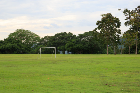 goalline: View of soccer pitch Stock Photo