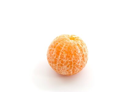 orange peel skin: Orange peeled isolated on white background