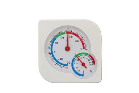 hygrometer: Thermometer and humidity meter isolated on white background Stock Photo