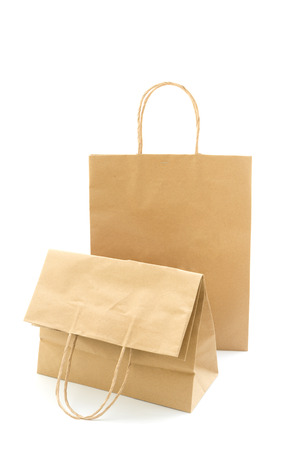 Brown paper bag isolated on white background Standard-Bild