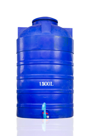 Store water in plastic water tank for the dry season Stock Photo