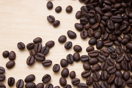 coffee table: Coffee beans on wood Stock Photo
