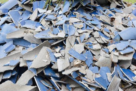 scrapheap: Damage of wavy roofing Stock Photo