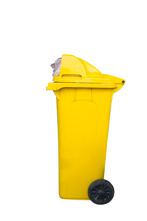 litterbin: Yellow recycling bin isolated on white background