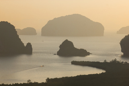 phang nga: Sunrise at Samednangshe viewpoint in Phang Nga, Thailand