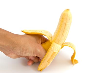 peeled: Peeled banana on white background Stock Photo