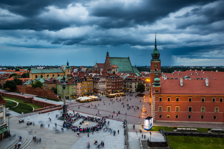 Rain clouds over Castle square on the old town Warsaw, Poland