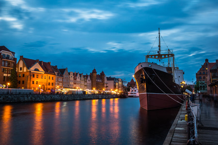 Museum ship Soldek and Motlawa River at night in Gdansk, Pomerania, Poland Editorial