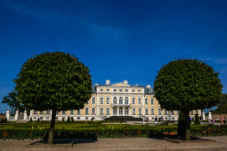rundale: Rundale, Latvia - 20 August 2015: View on baroque palace in Rundale Editorial