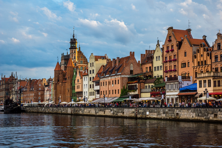 Mariacka Gate and historic buildings on old town in Gdansk city, Poland