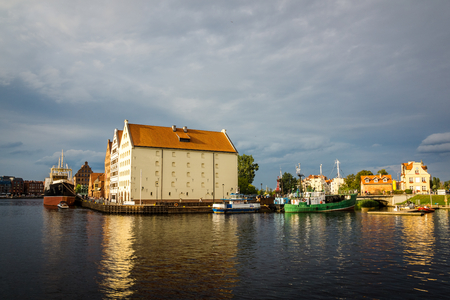 National museum in historic granaries on the Olowianka island in Gdansk, Poland