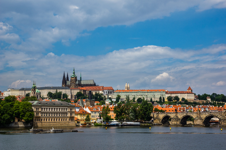 Hradcany Prague Castle, Church Saint Vitus and Charles Bridge in Prague, Czech Republic