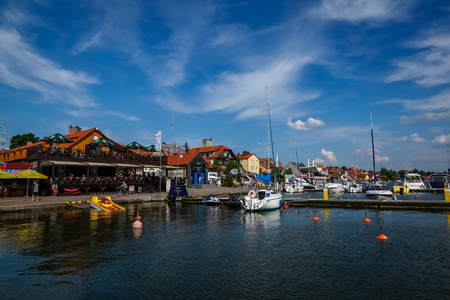 Mikolajki, Poland - 29 May 2016 - Harbor in Mikolajki city Publikacyjne