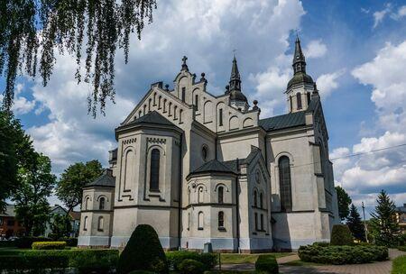 good weather: Church in Augustow city, Podlasie, Poland Stock Photo