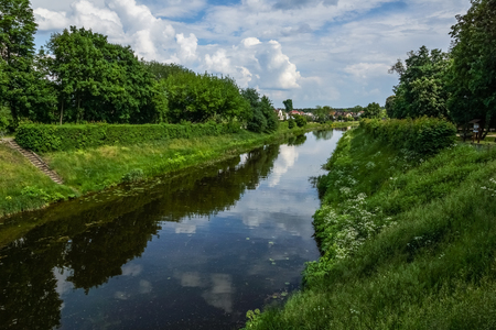 Augustow Canal in Augustow city in Poland Stock Photo