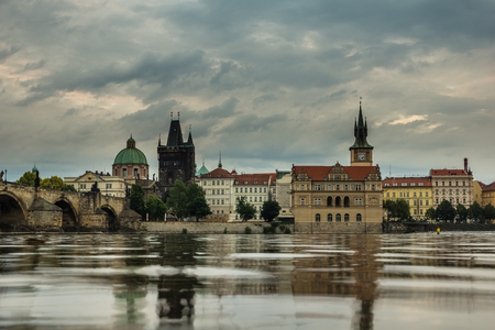 View on the Vltava river and old town Prague, Czech Republic