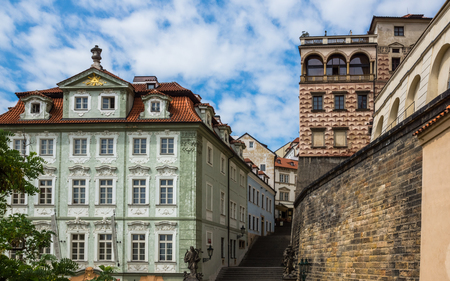 Old buildings and walls in Prague, Czech Republic