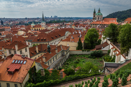 Panorama old buildings with red roofs in Prague, Czech Republic