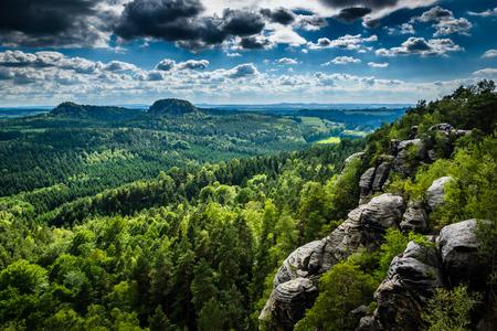View from Rauenstein mountain in Saxon Switzerland, Germany