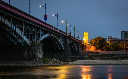 Poniatowski bridge over the Vistula river in Warsaw, Poland Imagens