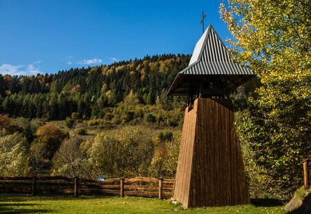 Belfry near wooden orthodox church of Sts. Nicholas in Hoszow village, Bieszczady, Poland