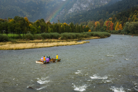 Rafting on the Dunajec river in Pieniny mountains, Poland Banco de Imagens