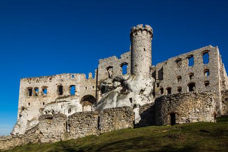 Ruins of medieval castle Ogrodzieniec in Podzamcze, Silesia, Poland Stock Photo