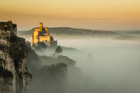 Castle in Mirow at foggy morning on the Jura Krakowsko-Czestochowska, Poland