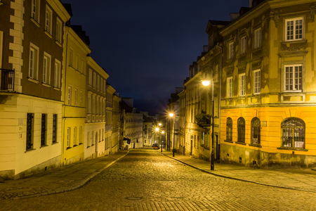 Mostowa street on old town at night in Warsaw, Poland Stock Photo