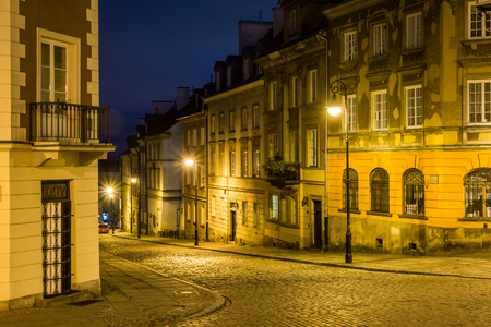 Mostowa street on old town at night in Warsaw, Poland Editorial