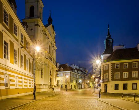 Night view at Freta street on old town in Warsaw, Poland Stock Photo