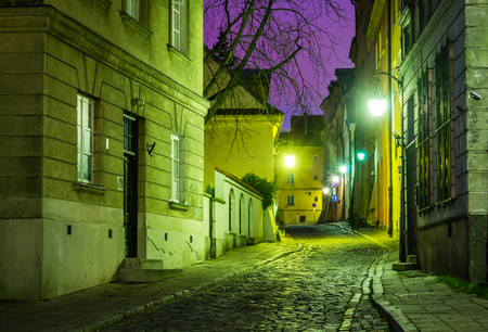 Night view at Brzozowa street on old town in Warsaw, Poland