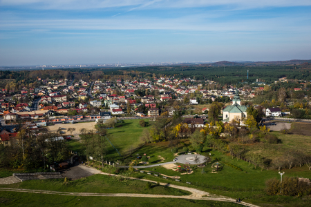 View on the Olsztyn city near Czestochowa, Silesia, Poland