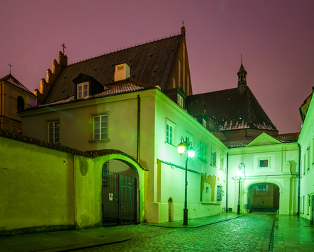 Historic buildings on the Kanonia street in the old town in Warsaw, Poland