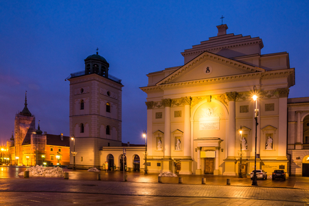 St. Anne church at night on the castle square in Warsaw, Poland