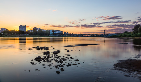 Sunset over the Vistula river in Warsaw, Poland Stock Photo