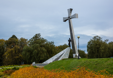 Cross on the hill in Przemysl city, Podkarpackie, Poland