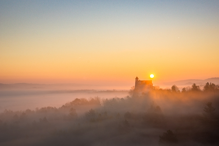 Medieval castle in Bobolice at sunrise on Jura Krakowsko-Czestochowska, Silesia , Poland