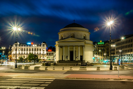 Warsaw, Poland - 10 June 2017 - View of St. Alexander Church on the Three Crosses Square
