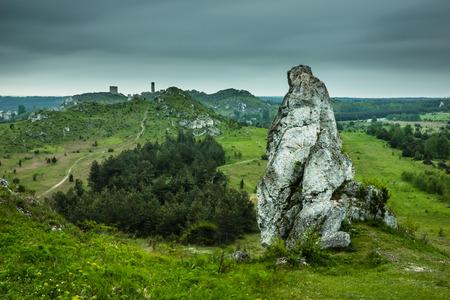 View from the mountain Biaklo near Olsztyn in Jura Krakowsko-Czestochowska, Poland Stock Photo
