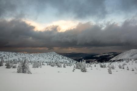 Winter landscape in Karkonosze mountain, Sudety, Poland